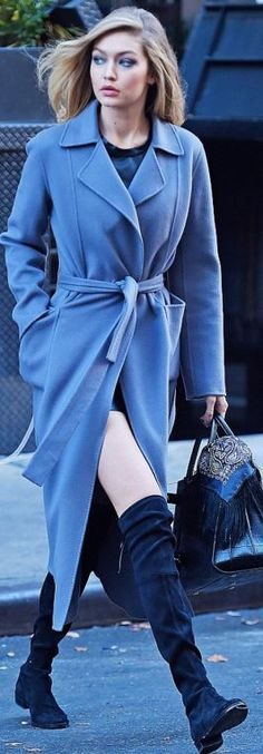 Who made  Gigi Hadid, gray coat> women fashion outfit clothing style apparel @roressclothes closet ideas
