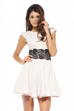 Nude Skater Dress with Lace Waist and Short Sleeves