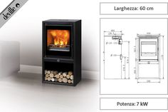 Stufa contemporanea a legna Mercure 50 di Deville - Zetalinea SRL