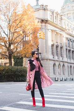 Pretty Colors :: Pink coat & Red boots :: Outfit :: Top :: Ralph Lauren shearling vest | Burberry trench | Maggie Marilyn sweater Bottom :: J Brand jeans Shoes :: Steve Madden boots Bag :: Celine Accessories :: Karen Walker sunglasses PUBLISHED: December 1, 2017
