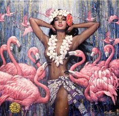 Karl Bang also here Karl Bang's collection of art masterpieces could easily be called Goddess Central. Karl was born as Bon. Flamingo Art, Pink Flamingos, Flamingo Beach, Comics Vintage, Hawaiian Art, Art Africain, Hula Girl, European Paintings, Black Women Art