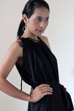 Sleeveless Black Dress Long Empire Waist Cotton Maxi