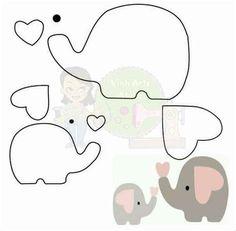 Elephant Template, Elephant Applique, Elephant Pattern, Dibujos Baby Shower, Baby Shower Clipart, Quilt Baby, Baby Shower Parties, Baby Boy Shower, Safari Theme Nursery