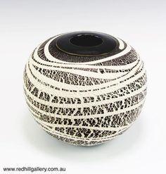 Bill Powell 'Black Porcelain Textured Blossom Vase' 23x20cm. 61 Musgrave Road, Red Hill Brisbane, QLD, Australia. art@redhillgallery.com.au