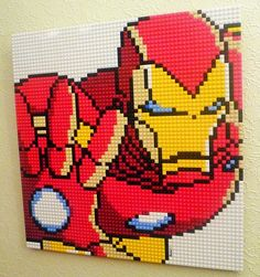 """The third Lego mosaic in my Avengers series: Iron Man measures 20"""" square and was made using 8 colours. Made using around 1000 Lego bricks."""