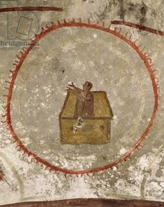 Noah and the Ark, century AD (fresco). Catacomb of the Giordani, Rome, Italy Fresco, Early Christian, Christian Art, Tempera, Ancient Rome, Ancient Art, Genesis Creation, Bible Illustrations, Christian Symbols