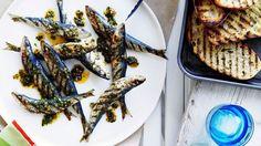 Sardines grillées, sauce menthe-citron