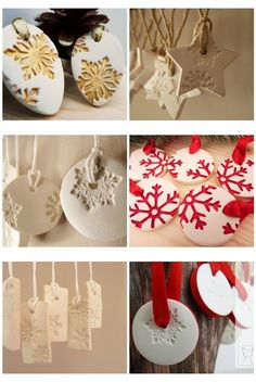 Hottest Images Clay Crafts baked Popular use that same home bake clay? Clay Christmas Decorations, Polymer Clay Christmas, Diy Christmas Ornaments, Homemade Christmas, Christmas Art, Christmas Projects, Holiday Crafts, Christmas Holidays, Snowflake Ornaments