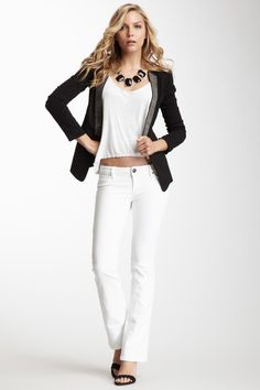 Cindy Slim Bootcut Jean by DL 1961 on @HauteLook white jeans fitted -  white on white with wedges loves as spring summer 2013 on brand look