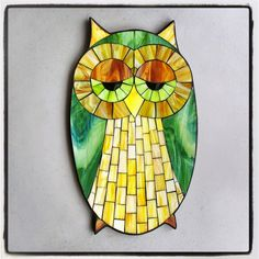 "Kasia Mosaics - ""DrOwlsy"", stained glass mosaic owl silhouette, 17"" x 9"", 2015 by Kasia Polkowska Take a Class via www.KasiaMosaics.com"