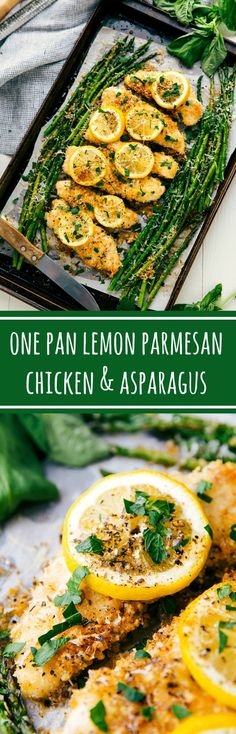 The best ONE PAN lemon garlic parmesan chicken and asparagus: