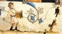 Ein Spitz-ähnlicher Hund vertreibt saaträuberische Krähen. Bildquelle: Luttrell-Psalter. London, British Library, Add. Ms. 42130, fol. 170v...http://www.brandenburg1260.de/