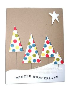 Love polka dot trees! Stamped with pencil eraser on cardstock then cut out trees. Simple. Pretty. Christmas card idea.