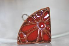 RED art bead necklace ceramic components pendant jewelry handcrafted ceramic necklace supplies  ceramic best gift  zolanna bohemian
