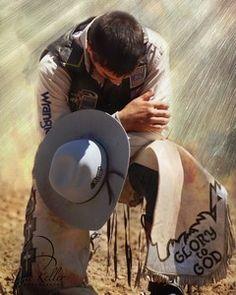 Cowboy In Prayer. Rodeo Cowboys, Real Cowboys, Cowgirl And Horse, Cowboy And Cowgirl, Cowgirls, Cowboy Prayer, Cowboy Photography, Prayer Signs, Bucking Bulls