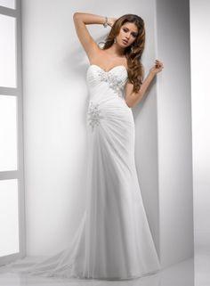 Sheath Sweetheart Ruched Bodice Beaded Lace Applique Chiffon Wedding Dress-ws0067, $239.95