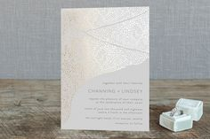 """""""Isola Bella"""" - Modern, Rustic Foil-pressed Wedding Invitations in Gold by Griffinbell Paper Co. Bohemian Wedding Invitations, Wedding Stationery, Timeless Wedding, Elegant Wedding, Table Setting Inspiration, Wedding Table Settings, Holiday Photo Cards, Papers Co, Floral Centerpieces"""