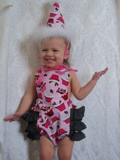 Cupcake Birthday Set 24 months by LilLizaLou on Etsy, $50.00 Comes with Maribou Trim hat, and Romper. Fantastic deal.