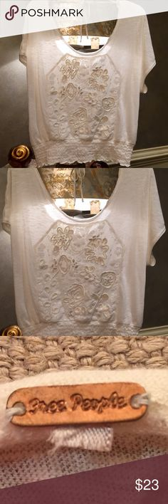 🌾New w/o Tags Free People Ivory Blouse🌾 🌾Free People Ivory Blouse, gorgeous, New w/o tags...beautiful stitching & lace see through at top ( camisole needed) and elastic waistband.🌾 Free People Tops Blouses