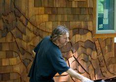 Heath Gordon working on a shingle art installation in Chester, Vermont.  https://www.facebook.com/HeathGordonScholarshipFund/