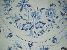 Vintage Cross Stitch BLUE ONION DANUBE Linen TABLECLOTH
