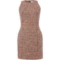 Victoria Beckham Denim Sleeveless neon tweed dress ($570) ❤ liked on Polyvore featuring dresses, short dress, orange, women, no sleeve dress, sleeveless dress, tweed shift dress, orange shift dress and brown tweed dress