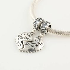 6d19a8ae4 Mother Daughter Heart Dangle 925 Sterling Silver Bead Charm for Pandora,  Biagi, Chamilia, Troll and…