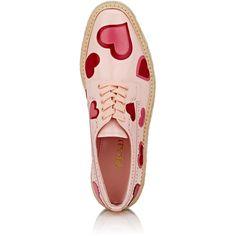 Prada Women's Heart- Appliquéd Leather Platform Espadrille Brogues (33 860 UAH) ❤ liked on Polyvore featuring shoes, prada shoes, woven shoes, woven leather shoes, brogue shoes and perforated leather shoes