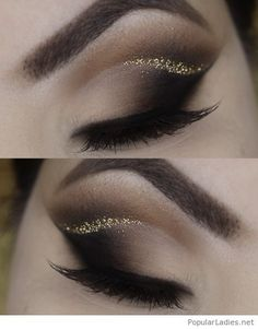 Black grey eye makeup with glitter