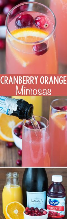 Cranberry Orange Mimosa – this easy 3 ingredient cocktail recipe is perfect for brunch or even as a bellini at a cocktail party! Cranberry Orange Mimosa – this easy 3 ingredient cocktail recipe is . Fancy Drinks, Cocktail Drinks, Cocktail Recipes, Cocktail Ideas, Cocktail Parties, Refreshing Drinks, Summer Drinks, Bagel Bar, Smoothies