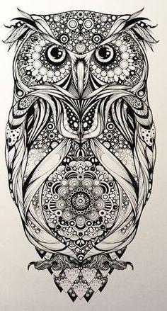 Рисунок совы с мандалой