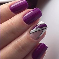 Purple Gel Nails, Purple Nail Art, Glitter French Manicure, Glitter Nails, Stylish Nails, Trendy Nails, Fancy Nails, Cute Nails, Hair And Nails