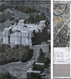 """Christo Wrapped Reichstag (Project for Berlin) Drawing 1994 in two parts 65 x 42"""" and 65 x 15"""" (165 x 106.6 cm and 165 x 38 cm) Pencil, charcoal, pastel, wax crayon, fabric sample, aerial photograph and technical data"""