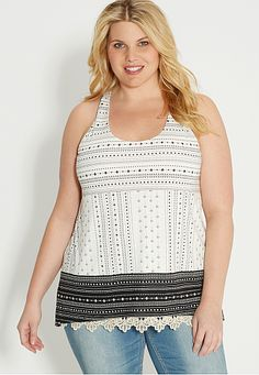 plus size patterned tank with strappy racerback (original price, $34) available at #Maurices