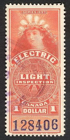 Electric Light Inspection - a vintage Canadian stamp