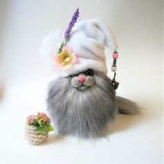 Winter Cat, Gnome Statues, Gnome Hat, Stuffed Animal Cat, Best Christmas Presents, Knitted Cat, Grey Cats, Christmas Gnome, Felt Fabric