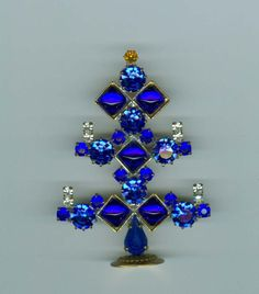 Stand Up Table Top Mini All Blue Christmas Tree Rhinestones Czech