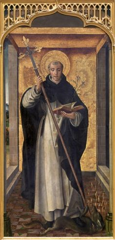 Saint Dominic - The founder of the Dominican Order, shown holding a book and a fleur-de-lis. With his cross, he crushes a demon dog surrounded by flames, a symbol of evil.