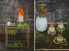 Tropical inspiration with retro flare and an orange dip-dyed wedding dress. Tropical Bridal Showers, Tropical Party, Tropical Desserts, Art Deco Invitations, Wedding Day Checklist, Fruit Wedding, Wedding Day Inspiration, Reception Decorations, Wedding Inspiration