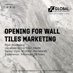 Opening for wall tiles marketing Post: Marketing Salary per month Exp : min 3 years Job location: jetpar road, morbi Con: 8000095795 We Are Hiring, Job S, Ahmedabad, Wall Tiles, 3 Years, Interview, Training, Marketing, Room Tiles