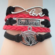 Infinity Love Arizona Cardinals Football - Show off your teams colors! Cutest Love Arizona Cardinals Bracelet on the Planet! Don't miss our Special Sales Event. Many teams available. www.DilyDalee.co