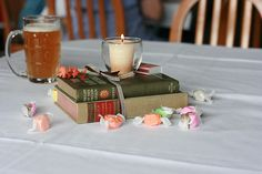 old books as center pieces