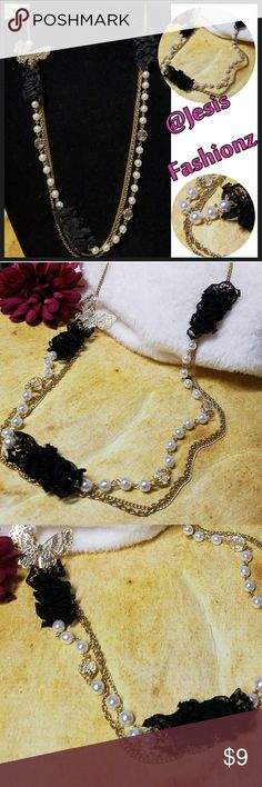 """Pearl & Black Lace Layered Necklace 3 Layers measuring between 32 & 34"""". Gold chain w/lobster clasp closure. Faux Pearls,  Black Lace, & Faceted Crystals Accent this Lovely Necklace. Item#N937 *ALL JEWELRY IS NWT/NWOT/UNUSED VINTAGE* 25% OFF BUNDLES OF 3 OR MORE ITEMS! ALL REASONABLE OFFERS ACCEPTED!BUY WITH CONFIDENCE TOP 10% SELLER, FAST SHIPPING, 5 STAR RATING, FREE GIFT w/ MOST ORDERS! Jesi's Fashionz  Jewelry Necklaces"""