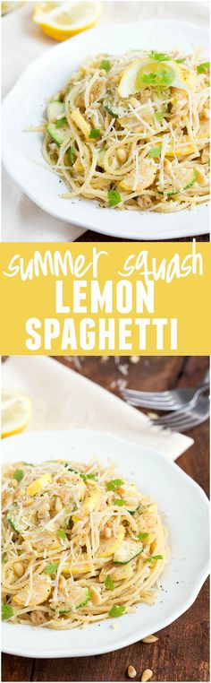 This Summer Squash Lemon Spaghetti is light and full of delicious flavor and summer veggies!