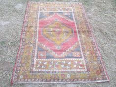 Vintage Turkish Oushak Rug  72 x 44 inches by VINTAGECOME on Etsy