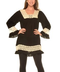 Look what I found on #zulily! Black Crochet-Accented Swing Tunic - Plus by Shoreline #zulilyfinds