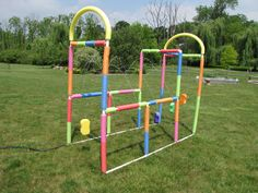 The Kiddie Car Wash! Made from PVC pipe, wrapped with pool noodles The Kiddie Car Wash! Made from PVC pipe, wrapped with pool noodles Backyard Water Parks, Backyard For Kids, Diy For Kids, Backyard Projects, Outdoor Projects, Pvc Pipe Sprinkler, Water Sprinkler, Kid Car Wash, Splash Park