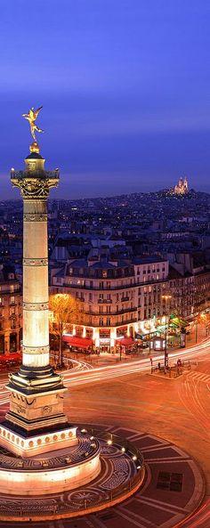 Sacré Coeur et Place de la Bastille, Paris, France    Get more Paris travel inspiration at http://www.holidaystoeurope.com.au/home/resources/destination-articles/france