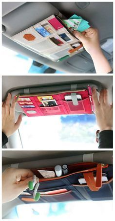 nice Online Shop 1PC High Quality Korea Style Car Sunvisor Point Multi Pocket Hang St...