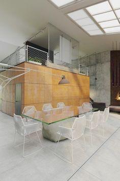 robuste Materialien - Cort-Stahl, Gitter und Beton